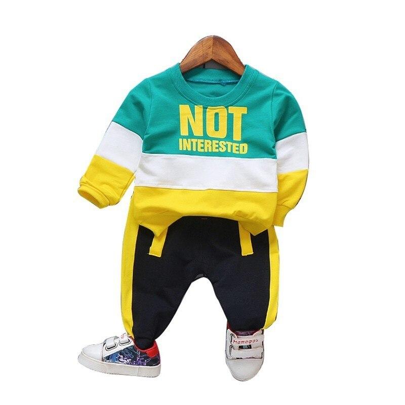 Primavera outono bebê meninas meninos conjunto de roupas infantil casual esporte camiseta calças 2 pçs/sets crianças roupas da criança algodão agasalho
