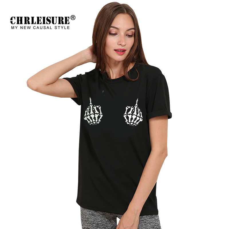 CHRLEISURE Summer T-shirt Skull Finger New Design Harajuku Casual Big Size Skeleton Print Tops Tee Women Female Black T Shirt