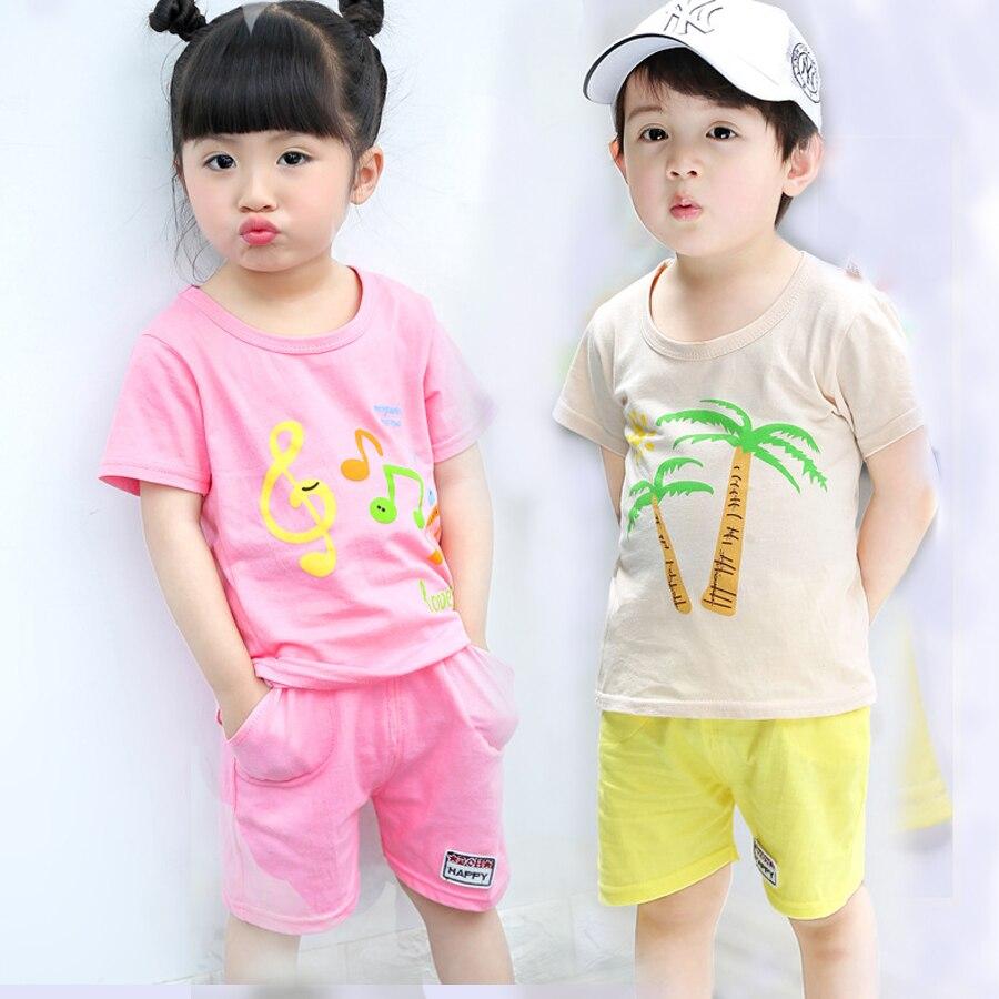 2018 New Summer Girls Outfits Summer Holiday Tees and Shorts Clothes Sets Cute Cartoon Printing Kinds Clothes Sets Kinds Clothes