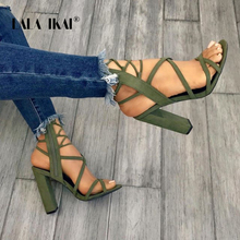 US $22.43 49% OFF|LALA IKAI Women Summer Flock Sandals High Heeled Square Heels Zipper Closure Gladiator Party Shoes Sapato Feminino 014C1887 5-in High Heels from Shoes on AliExpress