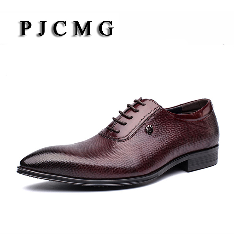PJCMG Fashion Breathable Handmade Luxury Black/Red Genuine Leather Lace-Up Pointed Toe Oxford Men oxford Zapatos Hombre Shoes pjcmg fashion branded design men s casual carved genuine leather oxfords lace up brogue pointed toe mixed color oxford shoe