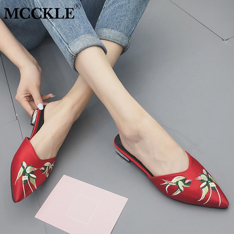 MCCKLE/Летние тапочки Повседневное Шлёпанцы для женские туфли без задника женские острый носок вышивать шелком обувь для девочек на не сужающ...