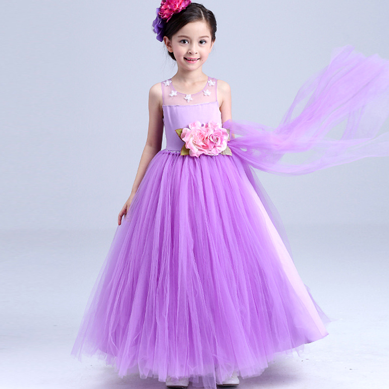 New Wedding Party Girl Dress Purple Formal Flowers Baby Pageant Dresses Birthday Cummunion Toddler Kids evening gowns Custom new wedding party formal flowers girl dress baby pageant dresses birthday cummunion toddler kids tulle custom dress hb2059