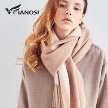 [VIANOSI] шарф из 100% шерсти, женские зимние шарфы, брендовый платок, Женский высококачественный однотонный шарф с кисточками, зимние шарфы для женщин 2018