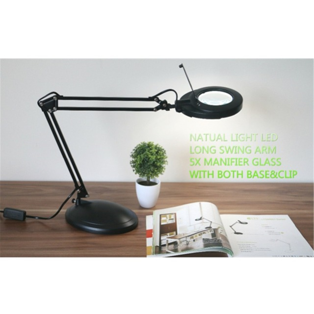 6600ae1a46a 3X Magnifier Magnifying Glass Len SMD LED Swing Arm Task Base Clamp Desktop  Desk Clip-on Lamp Lighting Reading Hobby Craft Work