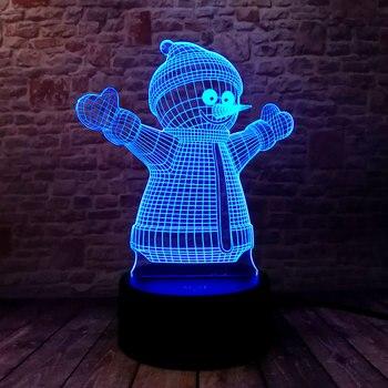 Lampe veilleuse Illusion 3D LED RGB Bonhomme de Neige