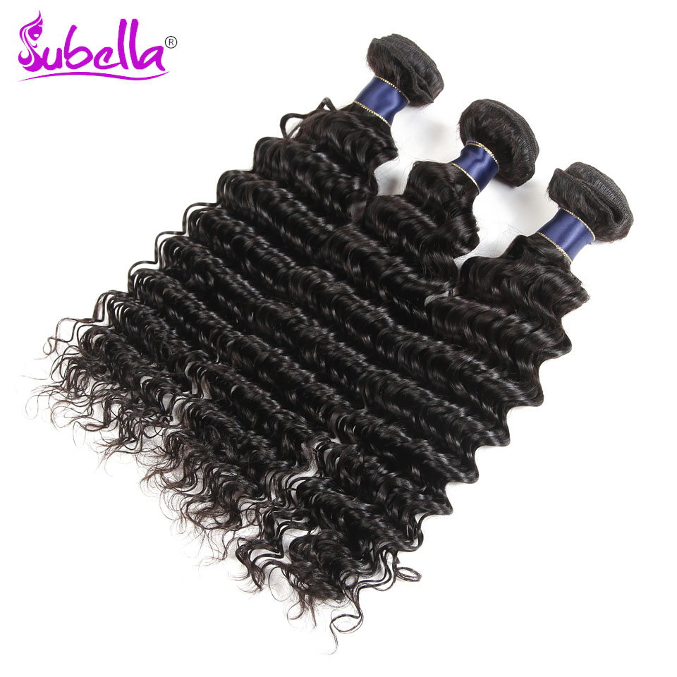 Subella Deep Wave Indian Hair Bundles 3 Bundles Deep Wave Hair Weave Good Quality Curly Hiar Human Hair Extensions