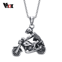 Punk Men Skull Necklaces Pendants Fashion Ghost Rider Necklace Cool Skeleton Necklace Men Jewelry Free 20inch