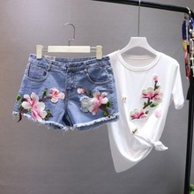 329734bd5 Amolapha mujeres Floral camisetas + Denim Jeans Shorts trajes de verano de manga  corta bordado mujer Casual camiseta pantalones .