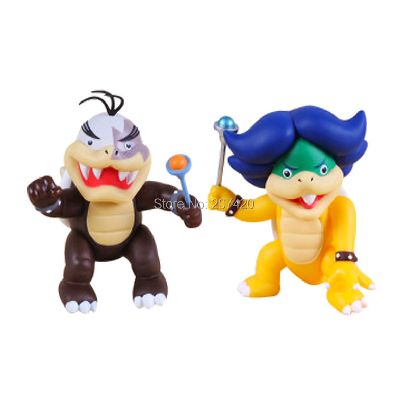 10cm Rare Collection Game Super Mario Koopalings Bowser Morton And Ludwig Blue Turtle Action Figure Toys,2pcs/set