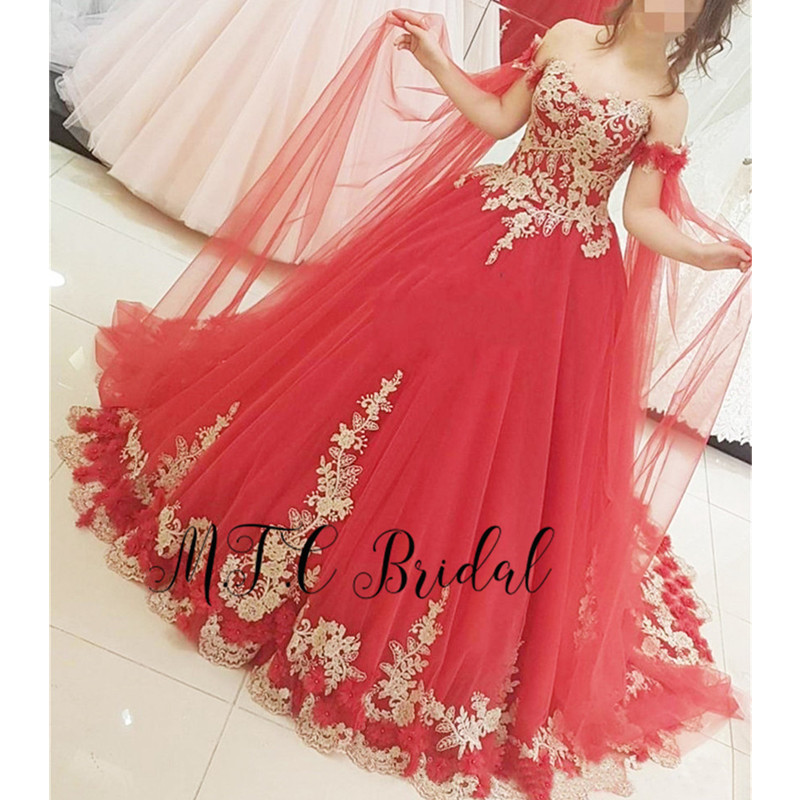 Graceful Red Arabic   Evening     Dress   With Gorgeous Lace 2019 New Sweetheart Off The Shoulder Tulle Long Prom Gowns Custom Made