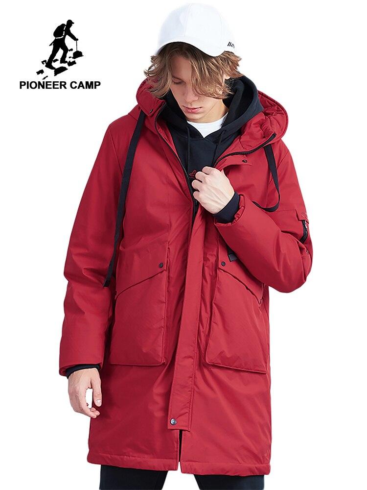 Camp pionnier nouvelle épais hommes long down veste marque vêtements mode Ruban conception vers le bas vestes hommes qualité d'hiver manteau AYR801478