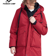 Pioneer camp new thick men long down jacket brand clothing fashion Ribbon design