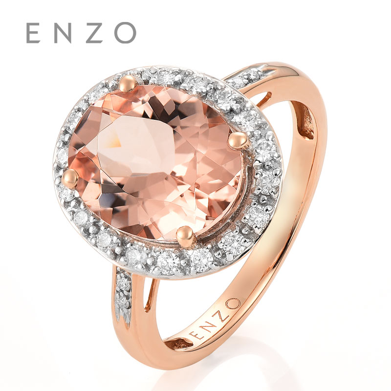 ENZO Classic Natural Gemstone 2.97Ct Morganite With 0.23 Ct Diamond Ring Gift For Women Fine Jewelry ...