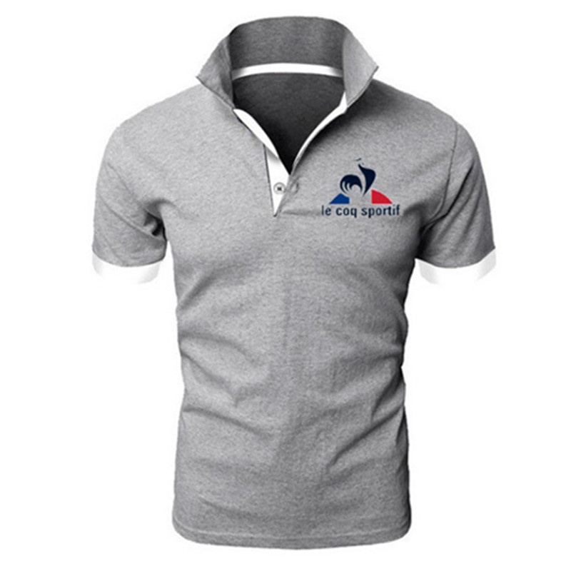 2019 Summer Fashion New Men's Casual Short Sleeve Lapel   POLO   Shirt / Men's Solid Color Letter Printed   POLO   Shirt Tops