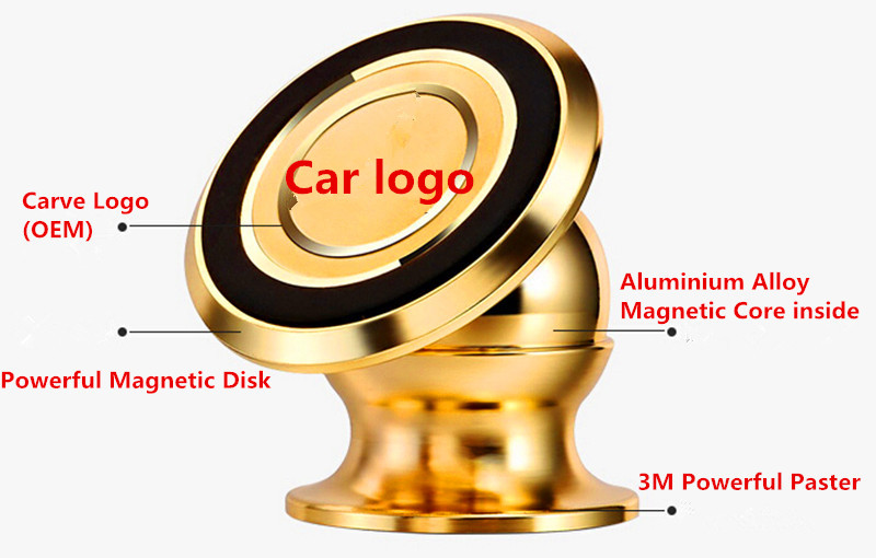 Magnet Mobile <font><b>Phone</b></font> Holder Stands for Car for Bike Aluminium Alloy with carving car <font><b>gold</b></font> logo free shipping