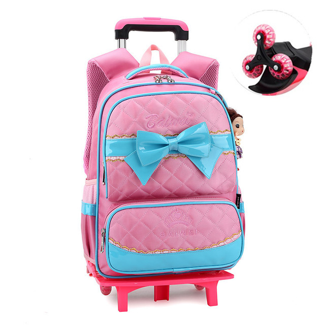 New School Bag Classic Travel Suitcase On Wheels Kids Rolling Backpack Girl Book Bags Students