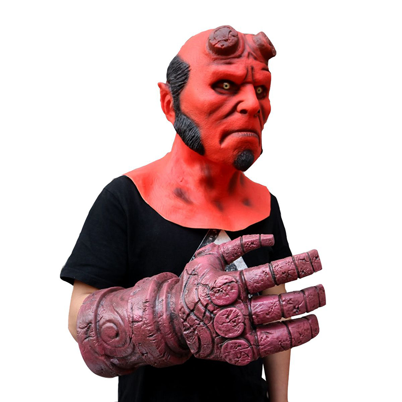 Hellboy Mask Cosplay Costume Men Hellboy Cosplay Full Face Helmet Superhero Gloves Halloween Party Props Mask Hellboy  Adult