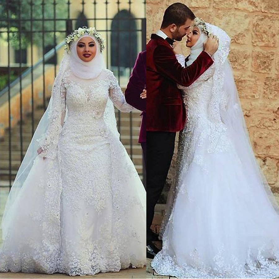 Fabulous Tulle A-line Arabic Islamic Wedding Dresses With Beaded Lace Appliques Long Sleeves Muslim Bridal Dresses