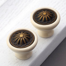 Cream Kitchen Cabinet Knobs Pumpkin Dresser Knob Drawer  Handles Ceramic Vintage Style Antique Bronze Decorative Hardware