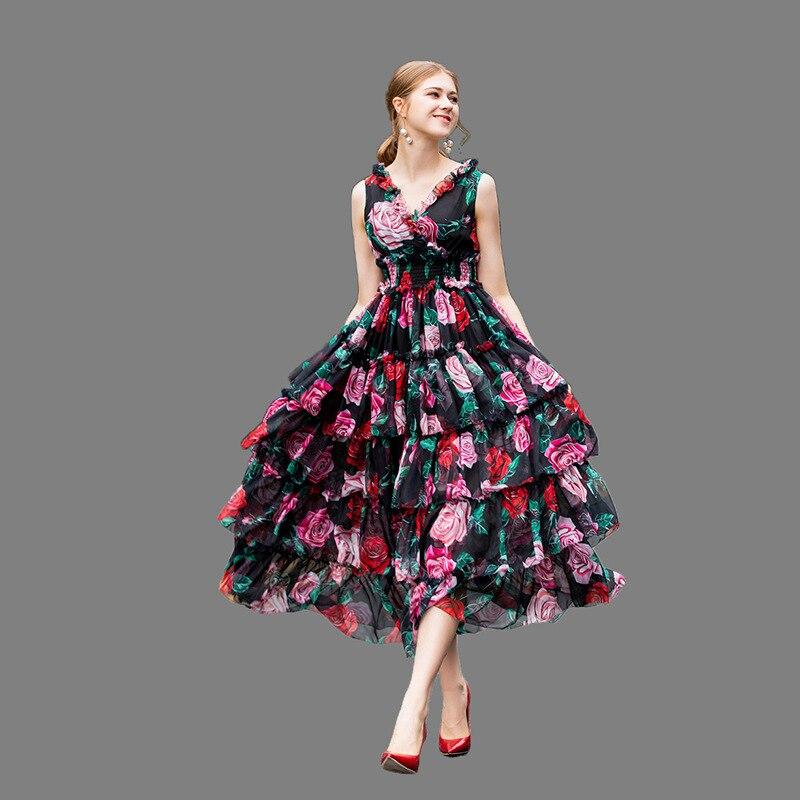 70% Silk V neck stretch high waist Sleeveless pink rose printed sweet mid calf ball gown Women's Silk dresses spring summer 2019