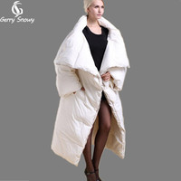 Winter coat 2017 long quilt down coat personality thickening thermal winter clothes down jacket women coat black/white