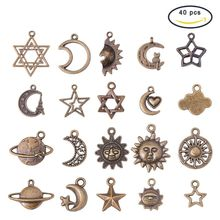 40Pcs Antique Bronze Celestial Charm Sun Moon Star Planet Pendant Jewelry Making
