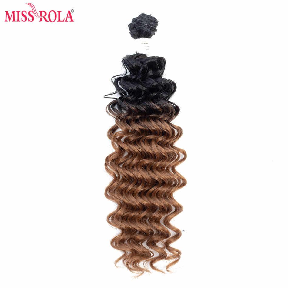 Miss Rola Ombre extensiones de cabello sintético onda profunda cabello tejido tramas de cabello T1B/30 con cierre gratis 16- 20 pulgadas 6 unids/pack 200g