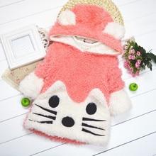 Envío gratis venta caliente de moda otoño e invierno lindo gato abrigo niñas prendas de abrigo ropa niños abrigo alta calidad de tres colores