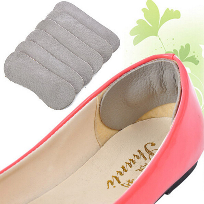 1Pair Pu Leather Shoe Back Heel Inserts Insoles Pads Cushion Liner Grips Grey For Foot Care