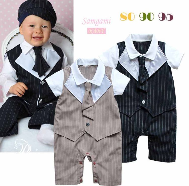 Cute One Piece Gentleman Romper Suit for Baby Boy Jumper Overall Summer 2016 New Born Infant Clothes Bebe Clothing Outerwear