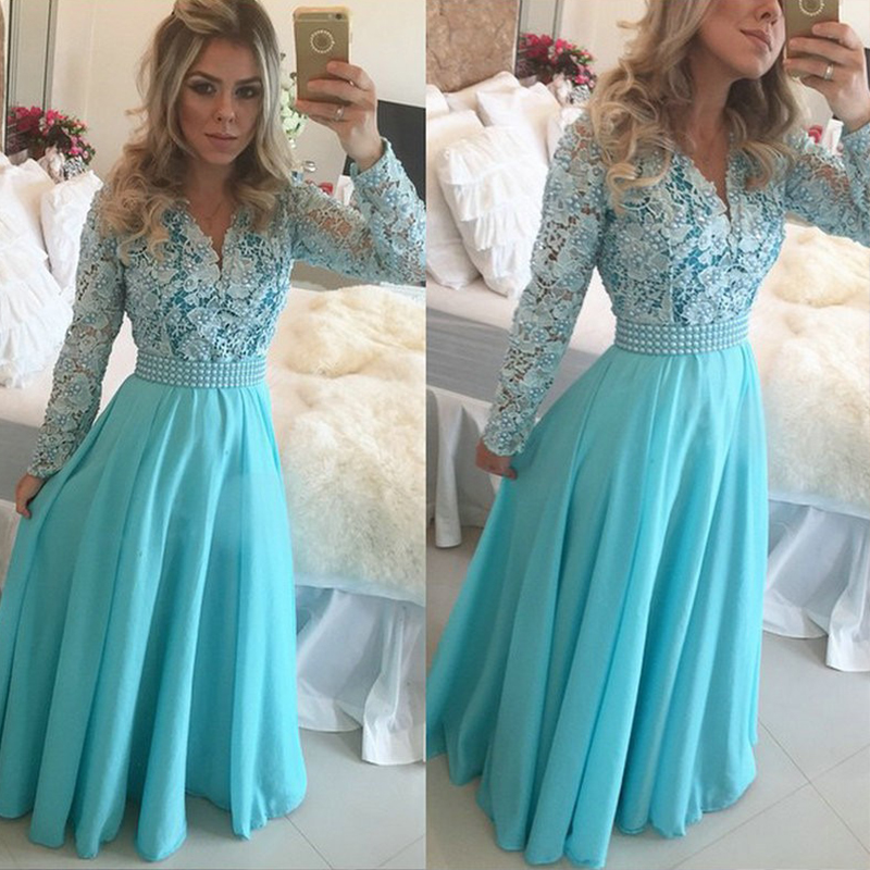 compare prices on long sleeve v neck blue prom dress- online