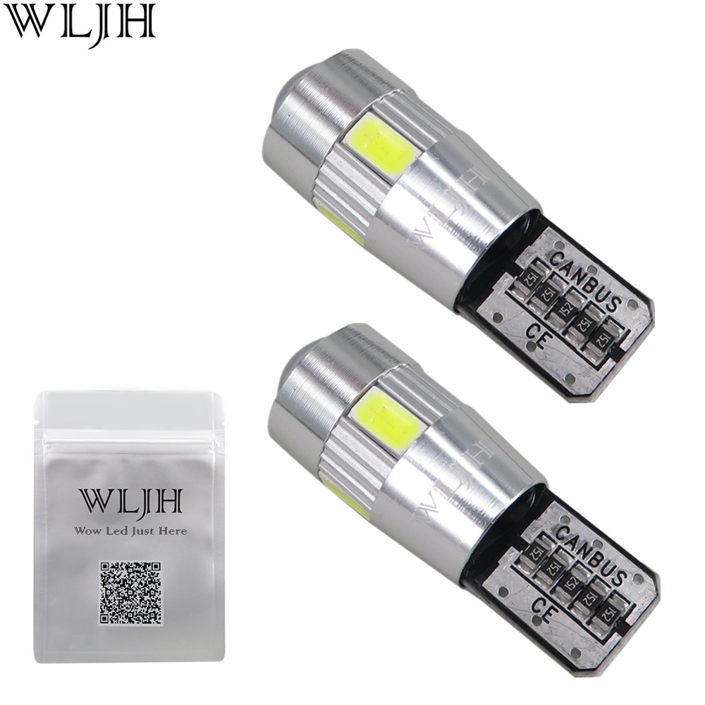 WLJH 2x Canbus Car 5630 SMD T10 LED W5W Projector Lens Auto Lamp Light Bulbs for ford focus 2 3 fiesta mondeo ecosport kuga drl wljh 2x canbus car 5630 smd t10 led w5w projector lens auto lamp light bulbs for ford focus 2 3 fiesta mondeo ecosport kuga drl