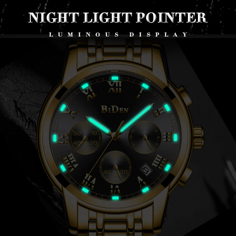 BIDEN watch Gold Mens Watches Multifunctional Clock Stainless Steel Business watch for men Quartz Wristwatch relogio masculino-in Quartz Watches from Watches    3