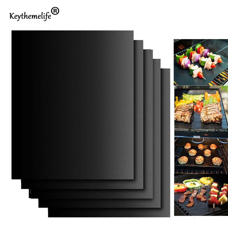 2PCS/LOT Silicone Baking Mat BBQ Cooking Mat Black Reusable Nonstick Sheet Oven Tray Non-stick anti hot outdoor garden BA