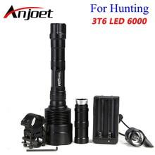 Anjoet 6000 Lumen Super Heldere 3x XM T6 LED Jacht Zaklamp Lanterna 3T6 Torch Light Lamp Schakelaar + Gun Mount + 18650 charger