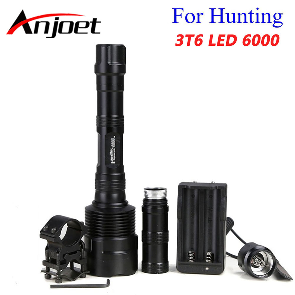 Anjoet 6000 Lumens Super Bright 3x XM-L T6 LED Hunting Flashlight Lanterna 3T6 Torch Light Lamp Switch +Gun Mount +18650 charger 8000lumen l l2 led flashlight tactical flashlight torch lanterna aluminum hunting light torch lamp 18650 charger gun mount