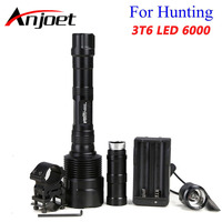 Anjoet 6000 Lumens Super Bright 3x XM L T6 LED Hunting Flashlight Lanterna 3T6 Torch Light Lamp Switch +Gun Mount +18650 charger