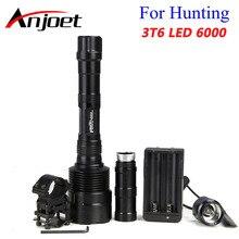 Anjoet lanterna led de 6000 lúmens, super brilhante, 3x x xm l t6, para caça, 3t6, interruptor de lâmpada + suporte para arma carregador + 18650