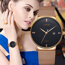 LIGE Women Watch Rose gold black Quartz Watch Lady Casual Waterproof Simple Ladies watch Womens Wristwatch Relogio Feminino