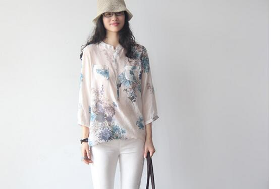 1pcs/lot free shipping korean style woman casual summer spring cotton linen top lady stand print blouse female blouse