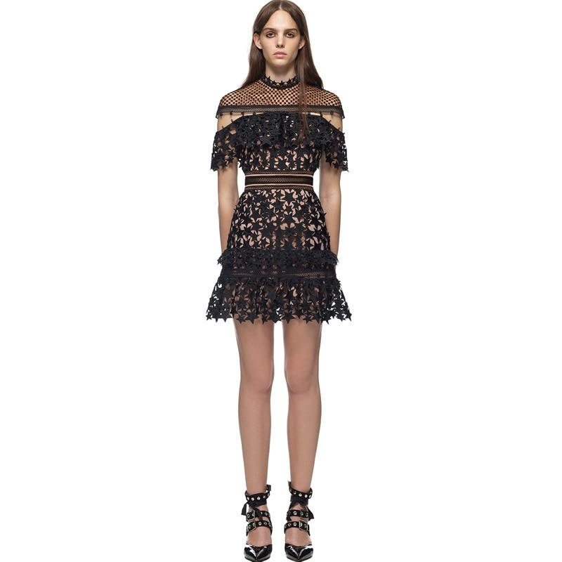 Yoke Frill Star Mini Dress Hollow Out Floral Lace Vestidos