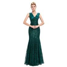 Seksi V Boyun Dantel Mermaid Abiye 2016 Zarif Uzun Yeşil/Siyah/Mavi Hanımefendiler Örgün Elbise Abendkleider Lang Abiye giyim