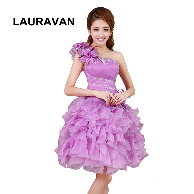 robe de soiree one shoulder lavender yellow hot pink red homecoming party dresses girls 2019 gowns