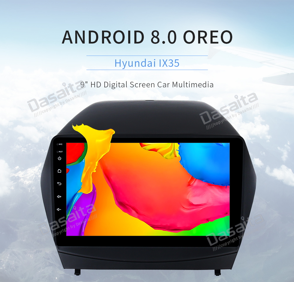 1 din Android 8.0 lecteur multimédia de voiture pour Hyundai Tucson IX35 2009-2015 autoradio Navi avec 8-Core 4 Gb Ram 32 Gb Rom PX5