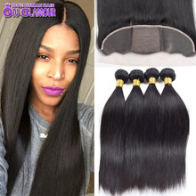 Cambodian Virgin Hair Top 4 pcs Straight Hair With Closure Black Silk Base Frontal With Bundles 4 Bundle Deals With Lace Closure