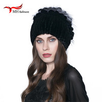 Warm winter fur hat mink hat with real fox fur ball knitted Skullies copious female fur headdress beanie hat W#14