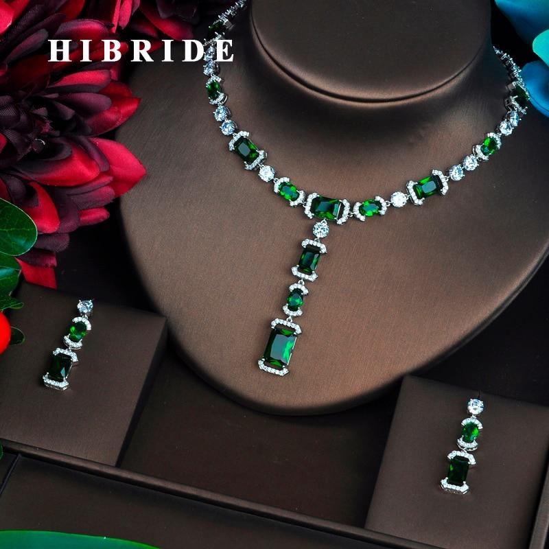 HIBRIDE Briliant Green AAA CZ Jewelry Sets For Women Luxury Necklace Set Wedding Dress Accessories Party Show Wholesale N-464 недорго, оригинальная цена