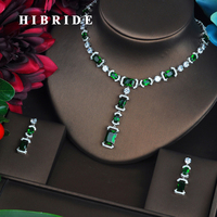 HIBRIDE Briliant Jewelry Sets for Women Luxury Green AAA CZ Necklace Set Wedding Dress Accessories Party Show Wholesale N 464