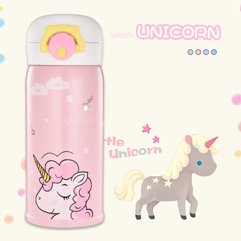 350ML Bouncing Cover Bottle Vacuum flask Unicorn Pattern Thermal Mug Travel Thermos Cup Stainless Steel
